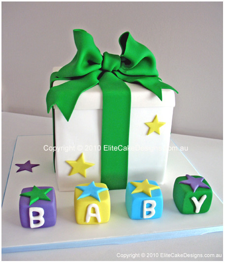 gift box cake designs. Gift box Baby Shower cake