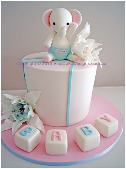 pics photos baby elephant baby shower cake sydney