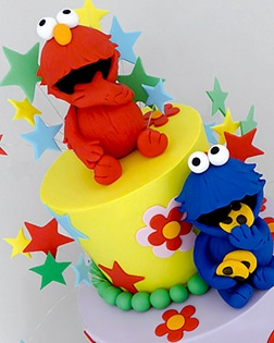 Elmo-Cookie Monster kids birthday cake