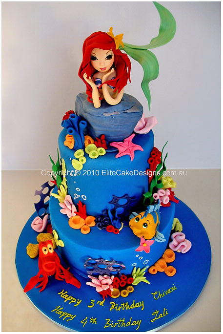 Ariel Mermaid Birthday Cake Childrens Birthday Cakes 1st Birthday