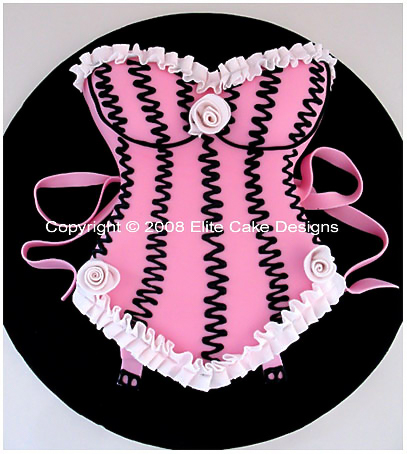 Birthday Cake. Unique 3D birthday cake design of a beautiful pink corset