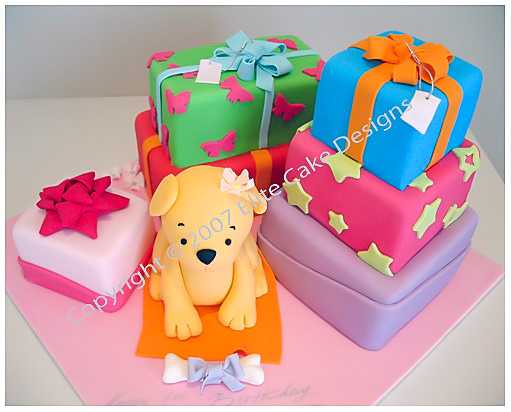 Doggy and Gifts kids birthday cake