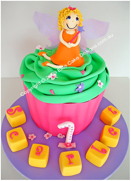 Giant Cupcake Birthday Cake With Fairy Figurine Childrens