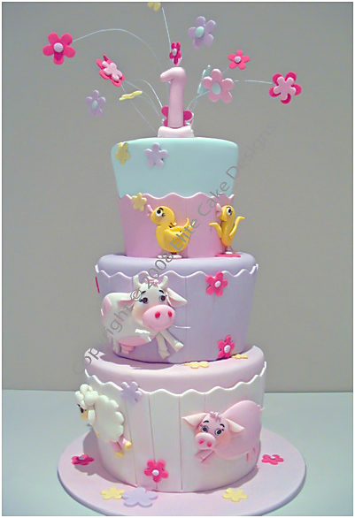 Latest Cake Design For Girl : Farm Animals Birthday Cake, 1st Birthday Cakes Sydney ...