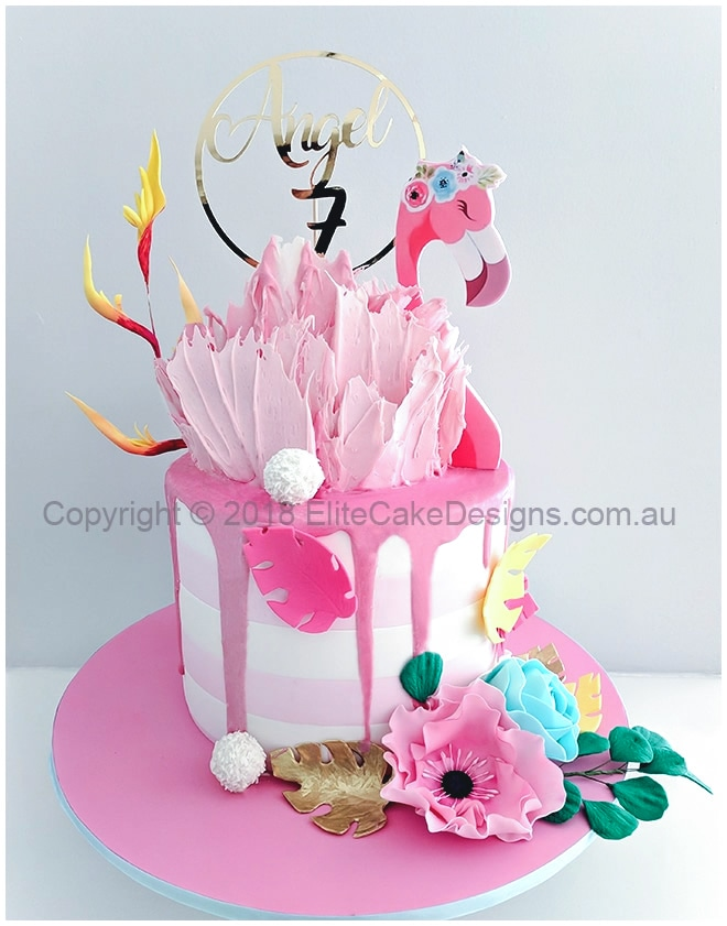Terrific Flamingo Birthday Cake Tropical Theme Cakes Birthday Cakes For Personalised Birthday Cards Bromeletsinfo