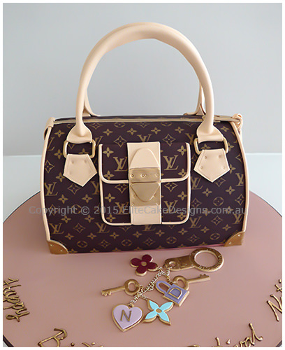 Louis Vuitton Ladies Handbag Birthday Cake In Brown 30th