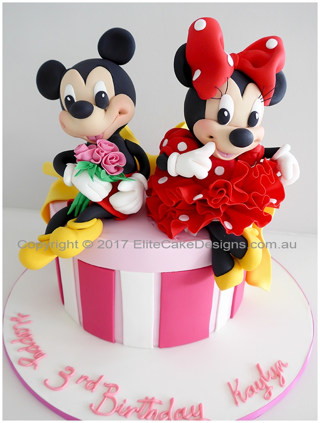 Minnie with Mickey kids birthday cake