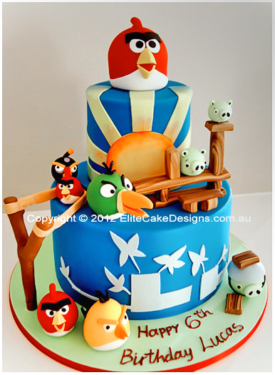 Angry Birds Theme Birthday Cake for kids