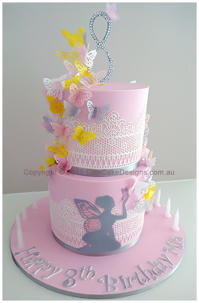 Fairy with butterflies Girls Birthday Cake