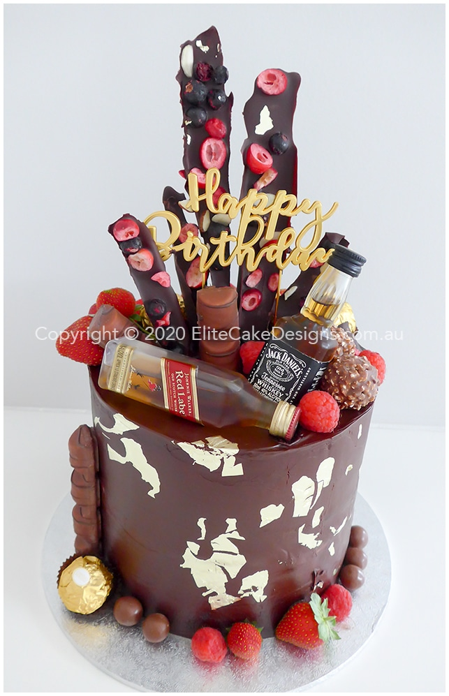 Mens Chocolate-gold-birthday-cake