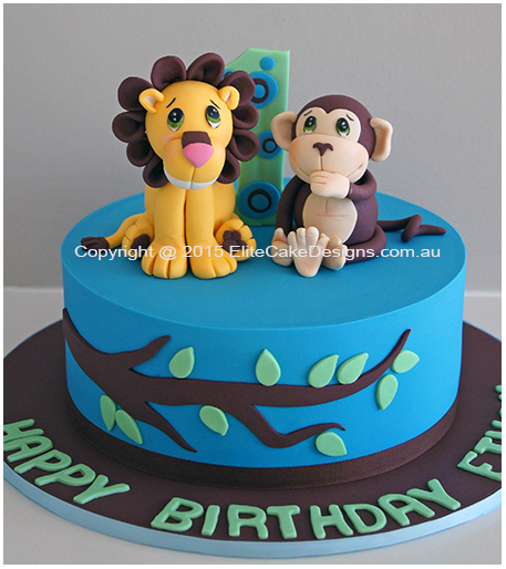 Lion and Monkey 1st Birthday Cake in Sydney Birthday Cakes for