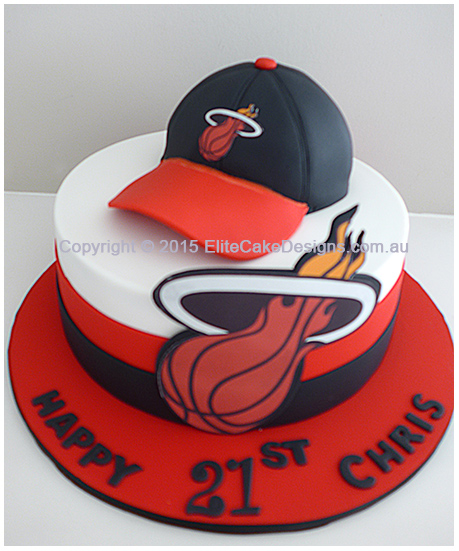 Customized Miami Heat Birthday Cake