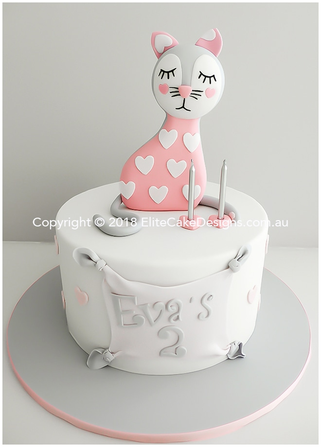 Artistic Pink Cat Baby Birthday Cake By Elitecakedesigns Sydney