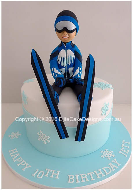 Ski Theme Birthday Cake in Sydney uniquely designed by EliteCakeDesigns