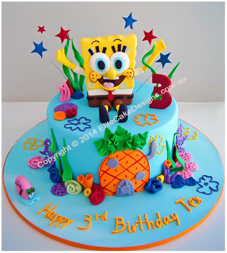 Strange Spongebob Birthday Cake By Elitecakedesigns Sydney Funny Birthday Cards Online Alyptdamsfinfo