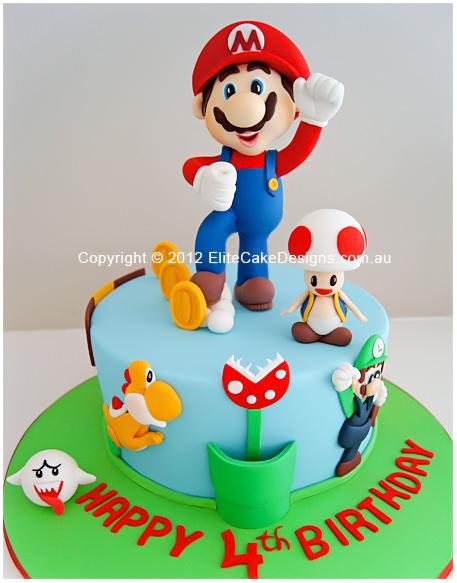 Super Super Mario Birthday Cake Birthday Cakes For Kids Childrens Personalised Birthday Cards Veneteletsinfo