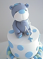 Teddy Christening cake with polka dots