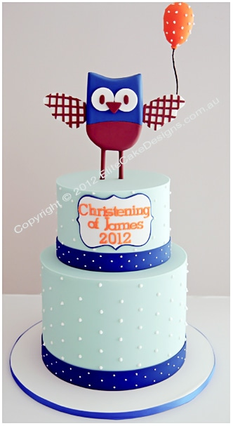 Baby Owl Christening Cake for boys