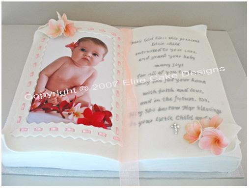 bible christening cake with frangipani by elitecakedesigns sydney