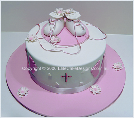 White booties Christening Cake for girls