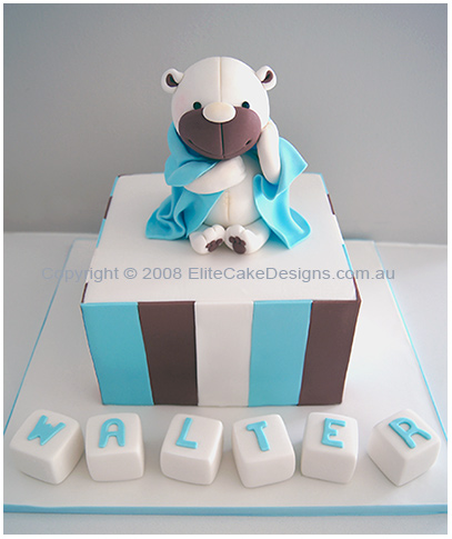 Teddy with blanket Christening cake for boys