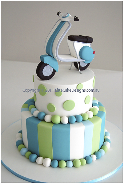 Vespa theme Christening and 1st Birthday cake