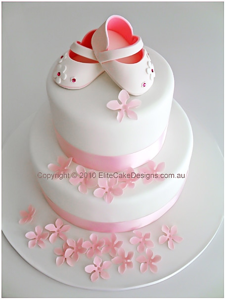 Baby Girl Shoes Christening Cake