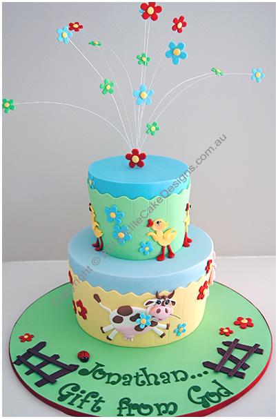 Peachy Farm Animals Birthday Cake 1St Birthday Cakes Sydney Australia Funny Birthday Cards Online Alyptdamsfinfo