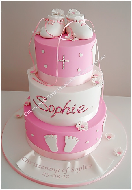 Christening Cake Design For Girl : Booties Christening Cake, Christening Cakes Sydney ...