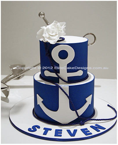 Swell Nautical Theme Boys Christening Cake Dessert Buffet Bar Cakes Personalised Birthday Cards Sponlily Jamesorg