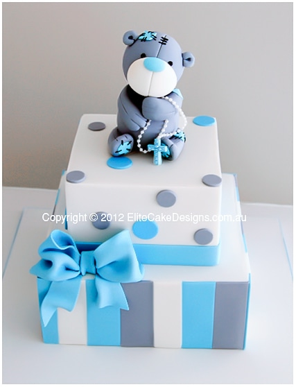 Tatty Teddy Bear Christening Cake for boys and girls