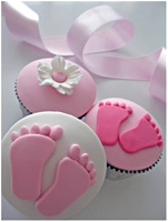 Baby footprint Christening Cupcakes