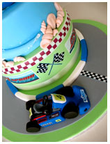 go kart and boat novelty cake