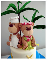 Hawaiian theme couple engagement novelty cake