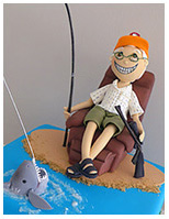 Old fisherman 70th birthday cake