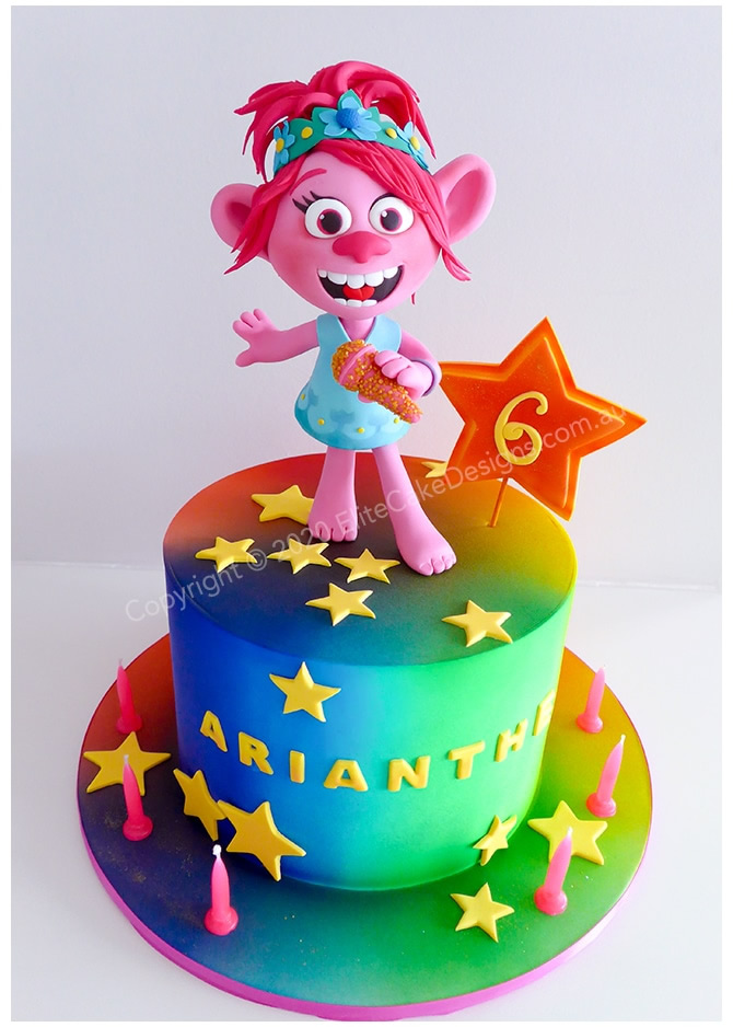 Trolls girls novelty cake