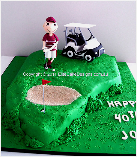 Golf course with a golfer and buggy cake