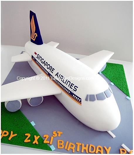 Singapore Airlines Plane Novelty Birthday Cake