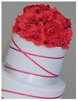 Hot Pink Rose Bouqet wedding Cake