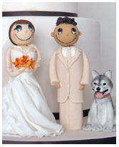 Funky Couple with dog wedding cake