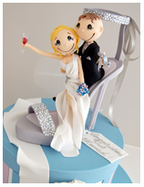 bride and groom in a stiletto wedding cake