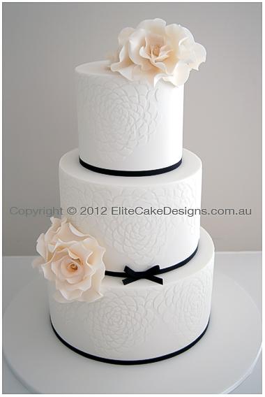 Ivory Rose Wedding Cake Modern Pattern Wedding Cakes Wedding