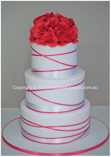 Hot Pink Rose Bouquet Wedding Cake with charcoal ribbon