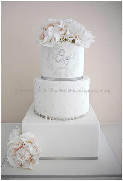 French-Parisian style wedding cake with flowers