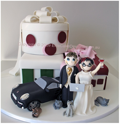 funky couple wedding cake