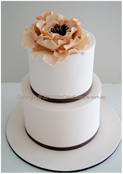 Wedding Cake With Peony Flowers