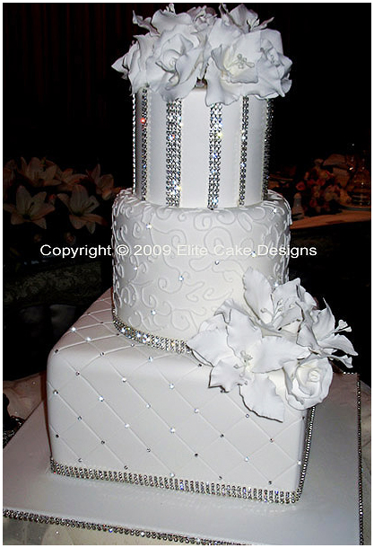 Exclusive Wedding cake with Swarovski Crystals, lilies and roses